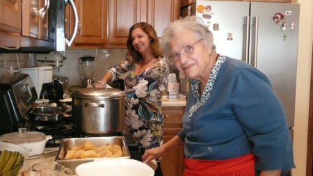 Cooking up a storm in her kitchen with Nora