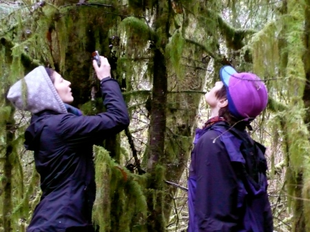 Skye and Grace admire and photograph the beauty of Weatherwax Preserve.