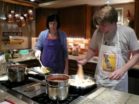 Nellie and Mark stir stir stirring!