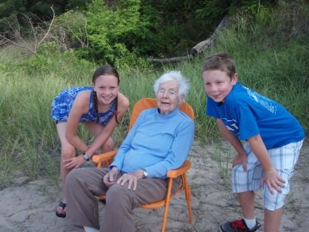 Marnie celebrating her 100th birthday with her great grandchildren last summer