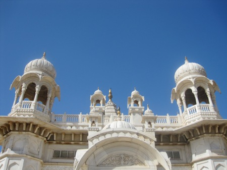 The Jaswant Thada, white marble Royal mausoleum, made of the same marble used for the Taj Mahal