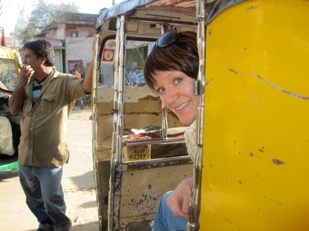 Angel peeking out of her rickshaw!  We are all on our way to shop in the heart of the bazaar in Jodhpur!