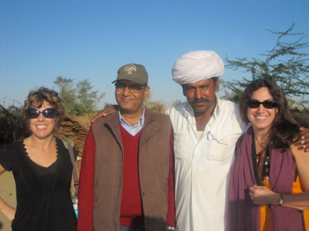 Kelley, Arvind, and Fran (photographed with a Rajasthani man from the Vishnois village)