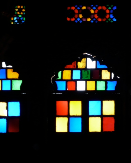 Stain glass windows in the dancing halls
