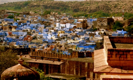 """View of Jodhpur from Jaswant Thada.  Jodhpur is known as the """"blue city"""" because the city's Brahmins paint their houses blue!"""