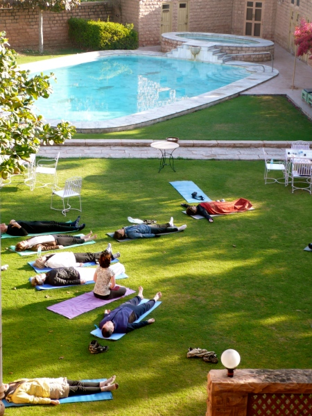 Yoga this morning at our Karani Bhawan Hotel (our hotel used to be a private home to a wealthy maharaj