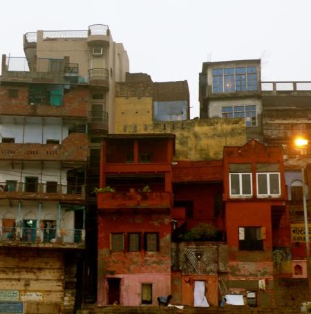 Buildings along the bank of the river Ganga