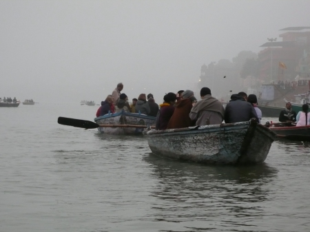 Early morning sunrise boat trip along the Ganges.  Overcast skies made for monochrome boats