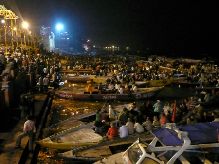 Tens of thousands attend the Aarti, the nightly ceremony to say good night to Mother Ganga. the Ganges River