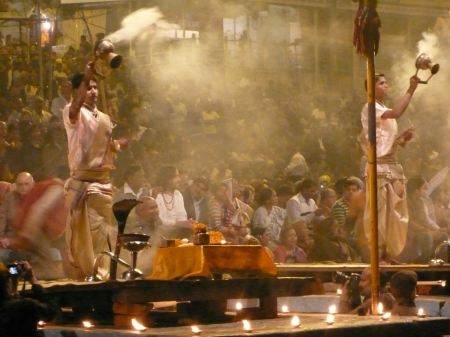 Brahmin priests at the Aarti Ceremony