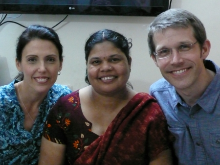 Rebecca and Dave pose with Renu