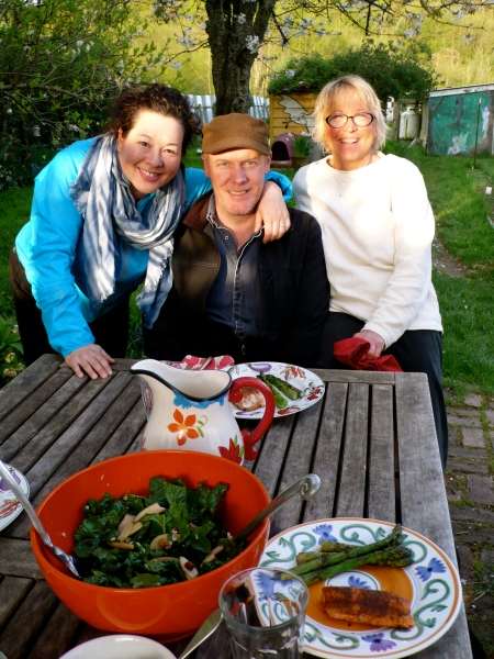 I taught a yoga session at Island Yoga Center on Vashon and then had a great dinner outdoors back at Karen's farm.  Leslie, John, and Karen in this photo.