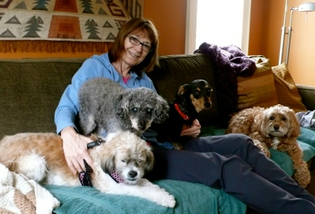 And here she is: Linda!  Linda is surrounded by her 4 dogs.  Linda's passion in life is rescuing dogs that have been abandoned or put in kill shelters simply because they are elderly or blind or sick or have been hit by a car and have a broken hip  (you are looking at those very real stories in this photo!).  I am blessed 100 fold because I am surrounded by the most remarkable people!