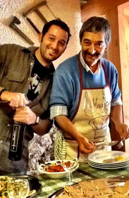 Mario's Cooking School, located in the Apennines Mountains.  Here Mario poses with his son, Matteo.