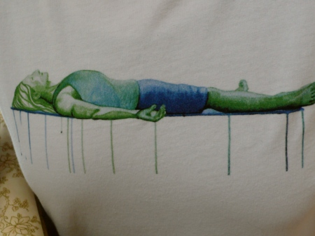 Gail's cool savasana t-shirt: points of contact with the earth
