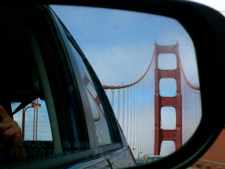 Golden Gate Bridge as seen in side view mirrors