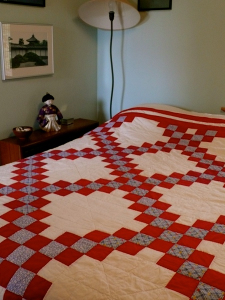 The quilt made by Esther Macmillan, Tom and Joyce's mother.