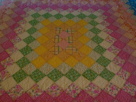 Rich colors of Grandma Ekey's quilt
