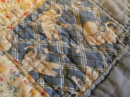 focus on details from Grandma Ekey's quilt...I especially love the elephants!