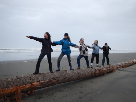 The log was slick, so our line of Warriors were too busy balancing to perfect the pose!